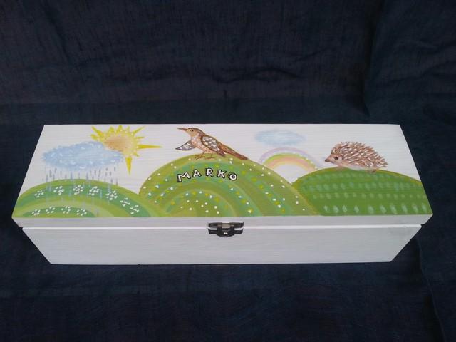 """Krikštynų skrynia su priedais """"Žaliuojančios ganyklos"""""""